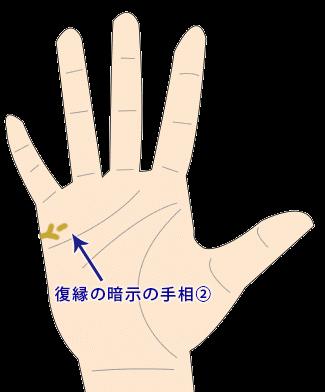 Y字のような復縁の手相画像